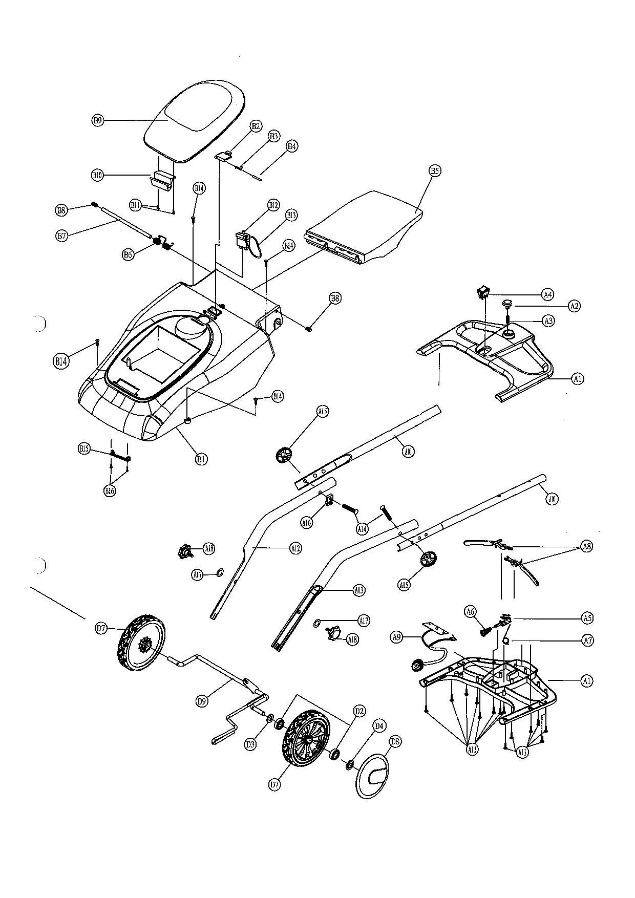 Chassis OM361 Oleomac- vue éclatée dessin pièces
