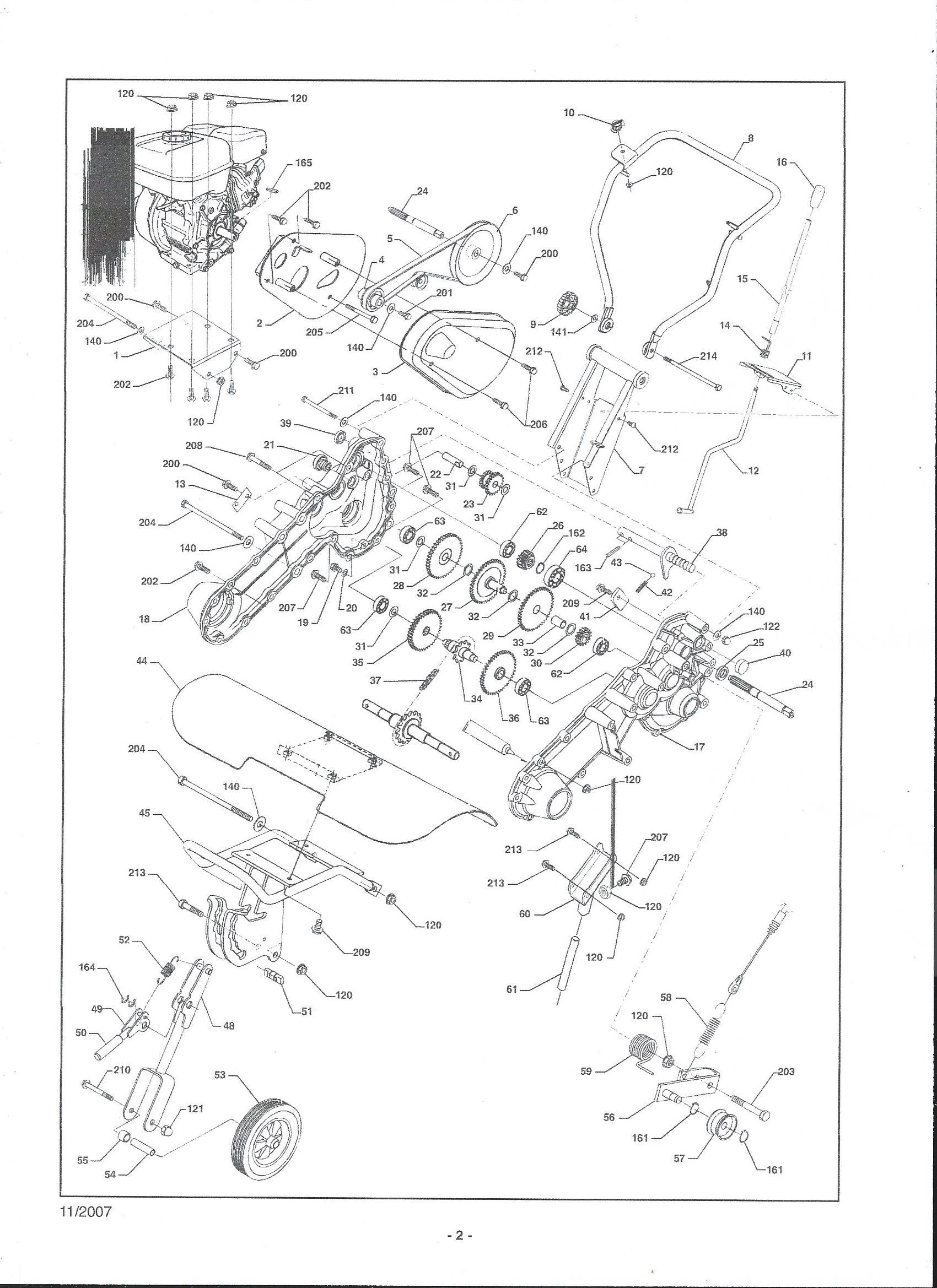 MHA 54 Motobineuse  Oleomac vue éclatée engrenage