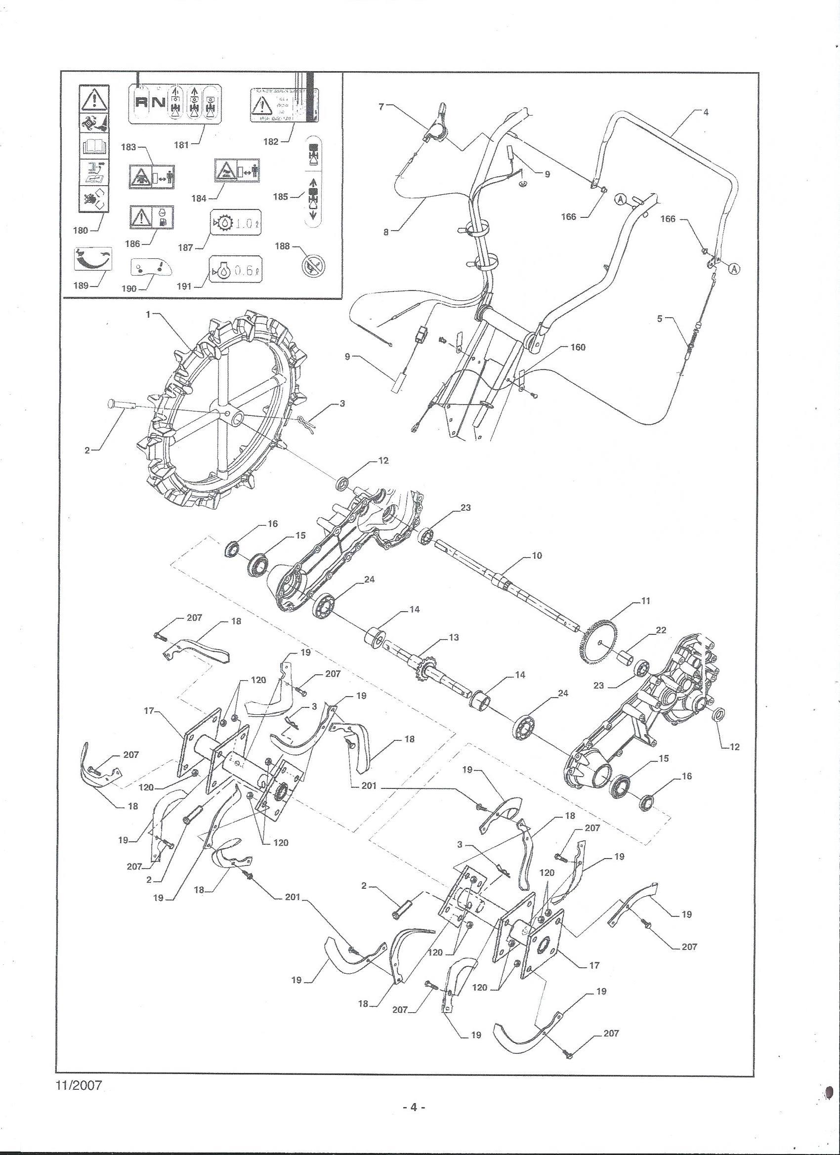MHA 54 Motobineuse Oleomac vue éclatée Fraises