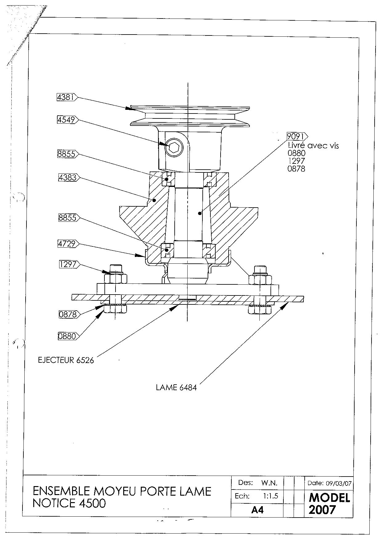 TDF 51 Débroussailleuse à roues oleomac Dessins pièces -  Vue éclatée palier