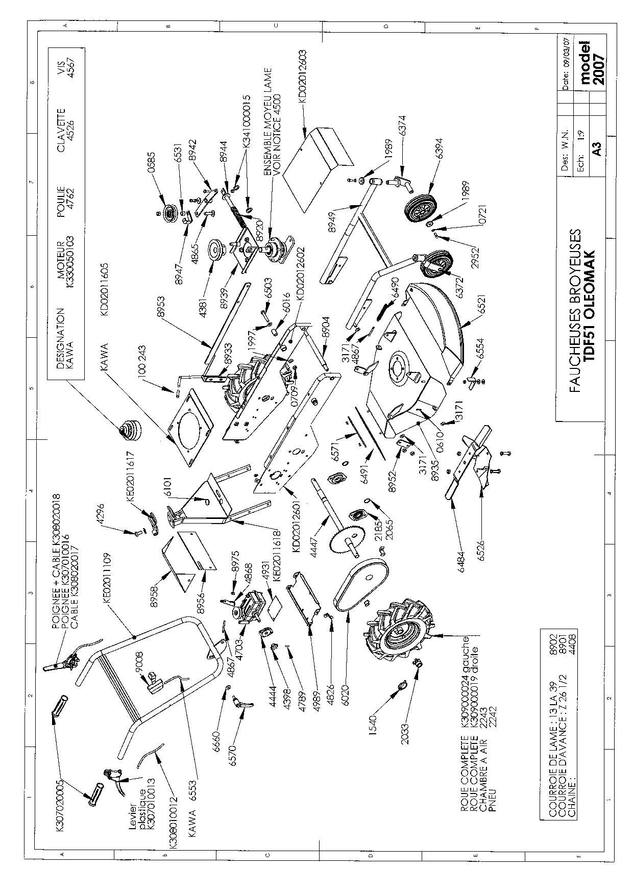TDF 51 Débroussailleuse à roues oleomac Dessins pièces -  Vue éclatée