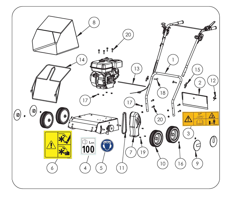 SCA 38 Aérateur  OLEOMAC vue éclatée  Dessins pièces -  Roues et bac