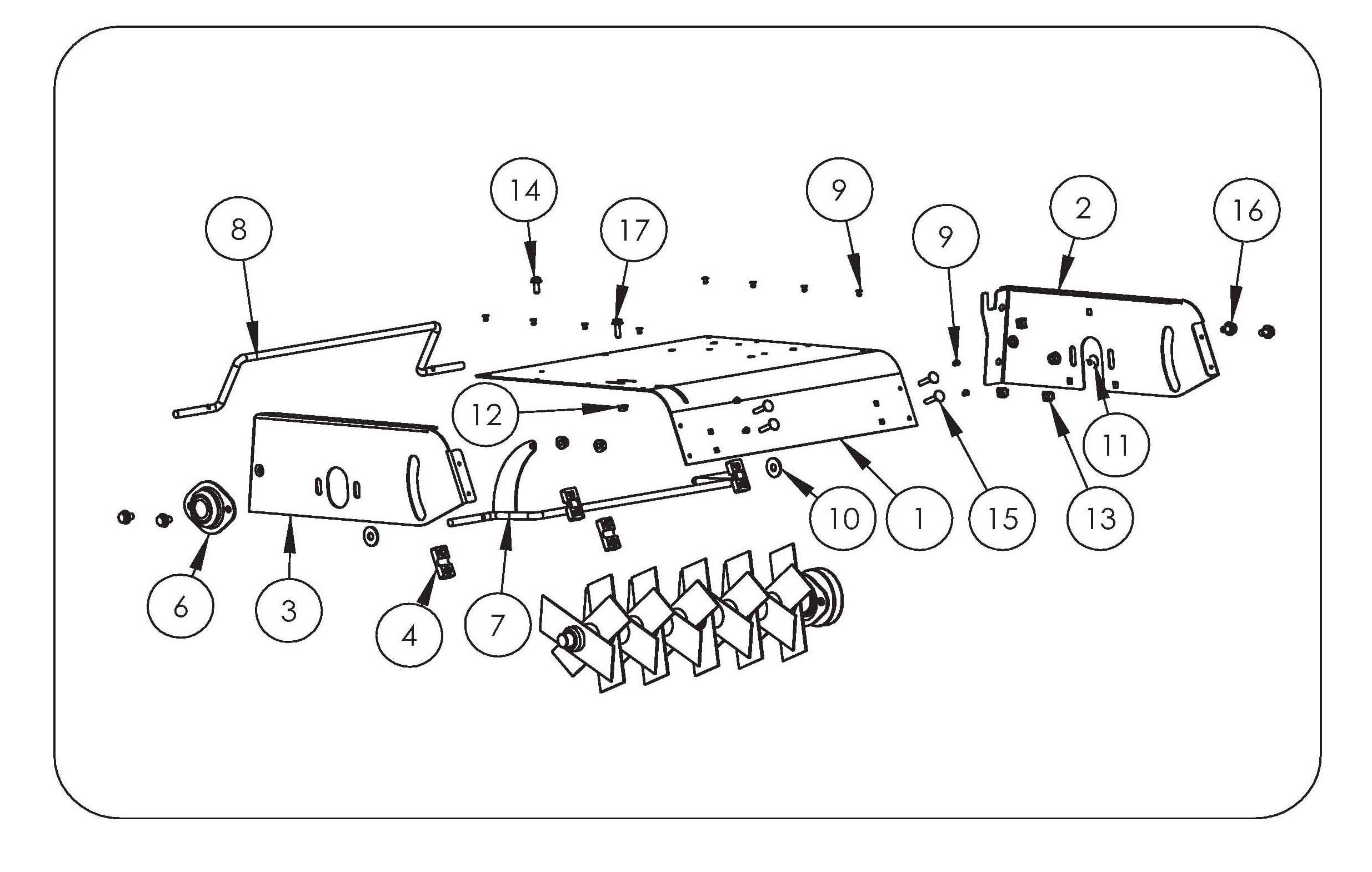 SCA 38 Aérateur  OLEOMAC vue éclatée  Dessins pièces -  Carter