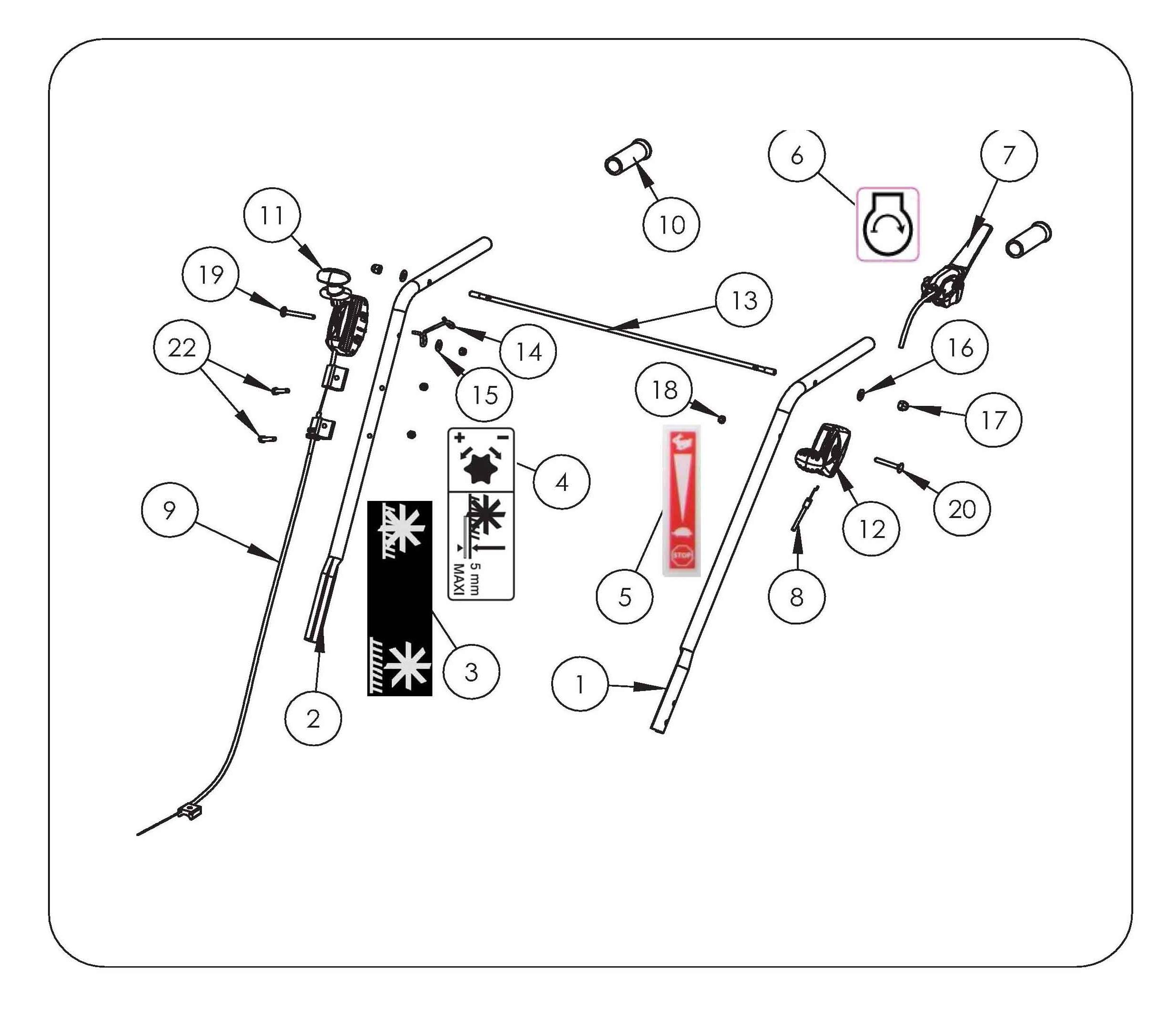 SCA 38 Aérateur  OLEOMAC vue éclatée  Dessins pièces -  Guidon