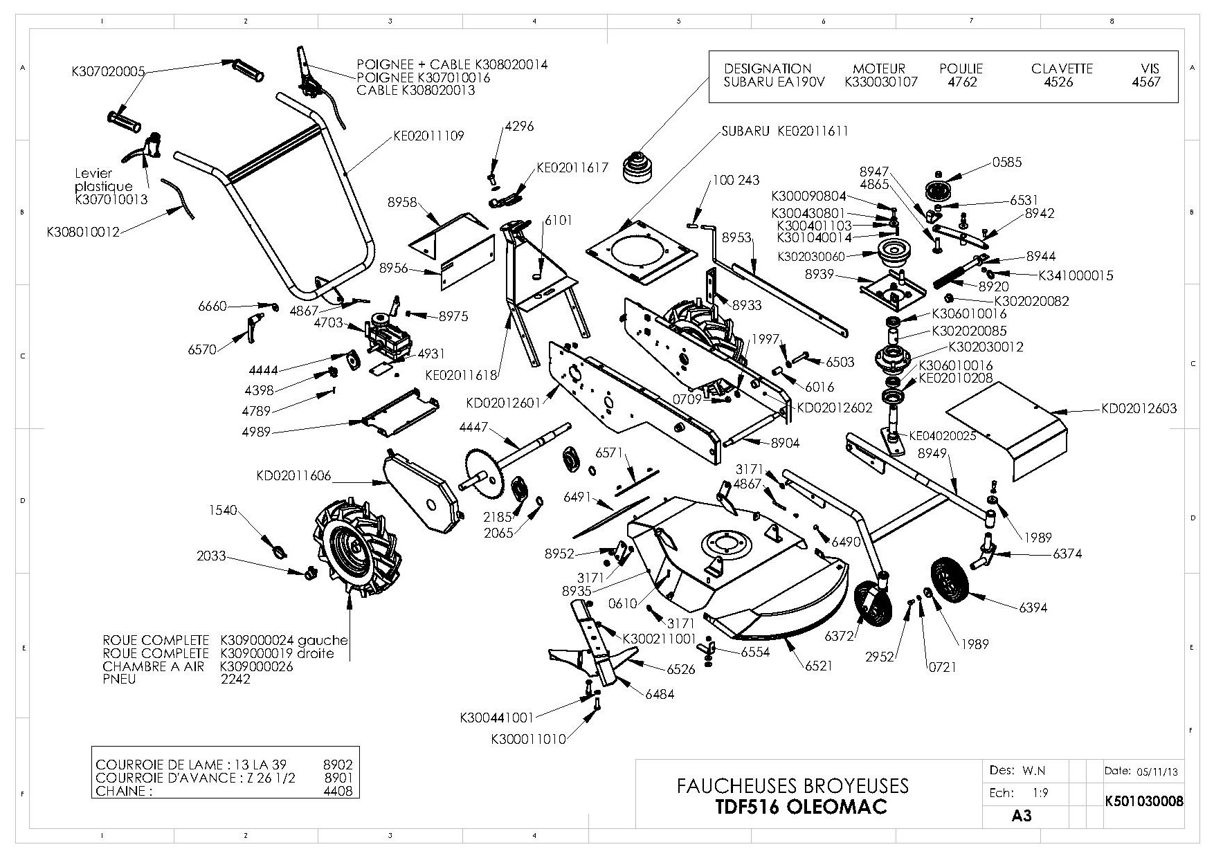 TDF 516 Débroussailleuse à roues Oleomac Dessins pièces -  Vue éclatée