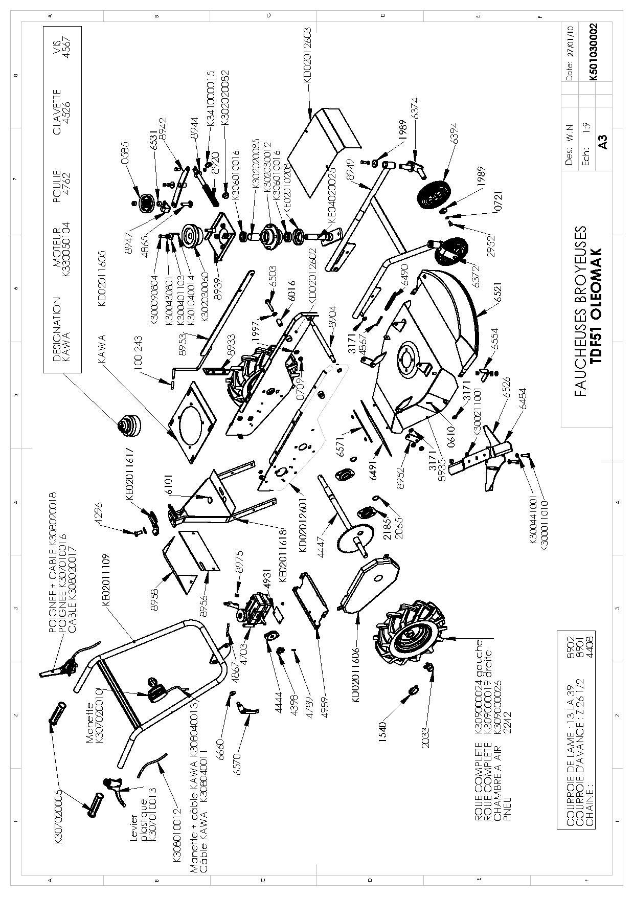 TDF 51 Cat. 2010 Débroussailleuse à roues Oleomac Dessins pièces -  Vue éclatée